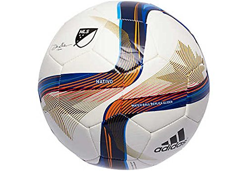 [adidas Performance 2015 MLS Glider Soccer Ball, White/Blue/Lucky Orange, Size 5] (Mini Team Jersey)