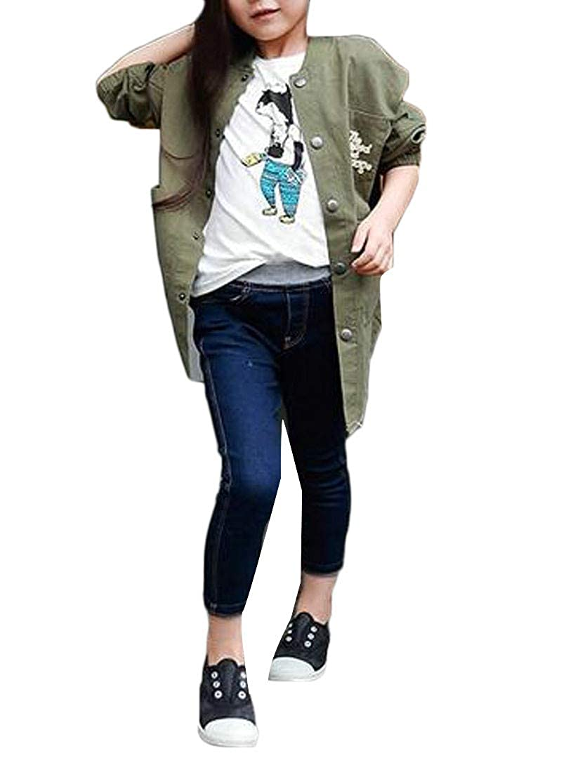Pandapang Girls Slim Casual Stretch Jeans Trousers Cute Denim Pants