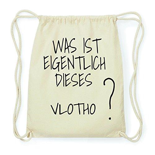 JOllify VLOTHO Hipster Turnbeutel Tasche Rucksack aus Baumwolle - Farbe: natur Design: Was ist eigentlich LoDZr