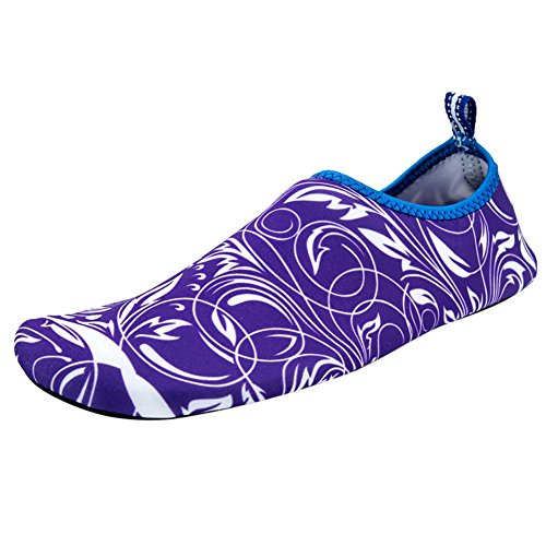 Tryckta Yoga Barfota Aqua Skor, Wingbind Simma Vatten Skor Beach Ocean Skor Dykning Surfning Aqua Strumpor Poolen Båtliv Hud Skor För Kvinnor Män Lila