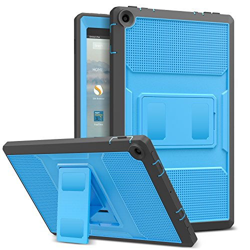 Blue Cover Protector Case (MoKo Case for All-New Amazon Fire HD 10 Tablet (7th Generation, 2017 Release) - [Heavy Duty] Shockproof Full Body Rugged Cover with Built-in Screen Protector for Fire HD 10.1 Inch, Blue & Dark Gray)