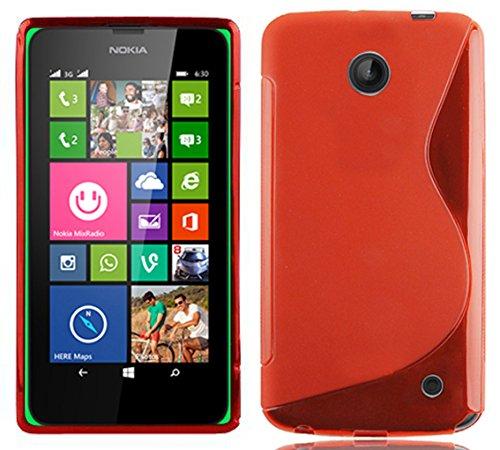 Cadorabo - Nokia Lumia 630 / 635 Cubierta protectora de silicona TPU en diseño S-Line - Case Cover Funda Carcasa Protección en ROJO-INFIERNO ROJO-INFIERNO