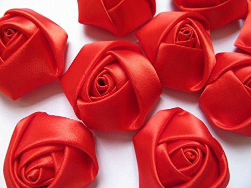 YYCRAFT Pack of 20 Satin 4d Rose 2(5cm) Craft Wedding Bride-Red