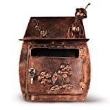Xiao Jian- Mailbox - Iron, Home Decor Handmade Creative Insects Retro Metal Waterproof Wall-mounted Mailbox, Suitable For Villas, Courtyards, Homes mailbox (color : A)