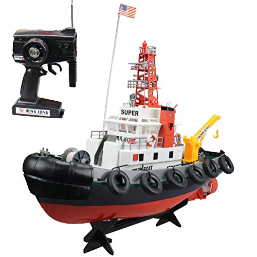 Fistone Rc Seaport Workboat 7 Ch Radio Control Fireboat Us Maritime Rescue Coordinating Boat Spurt Water Simulation Equipment Controlled Ship Electronic Toys Game Model With Lights For Outdoor