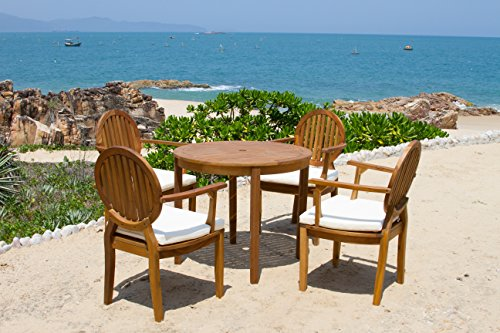 Safavieh Outdoor Living Collection Chino 4-Piece Dining Set, Teak Brown - The teak brown finish of this outdoor dining set will create a perfect accent to your patio Crafted of sturdy acacia wood Perfect for a living room, family room, den, library, or study - patio-furniture, dining-sets-patio-funiture, patio - 51CmtPTjNGL -