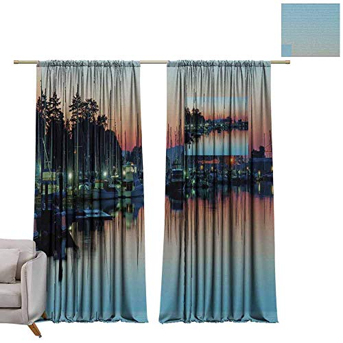 Energy Saving Harbor - berrly Energy Saving Curtains Boat Harbor, Sunset W72 x L84 Thermal Insulated Draperies