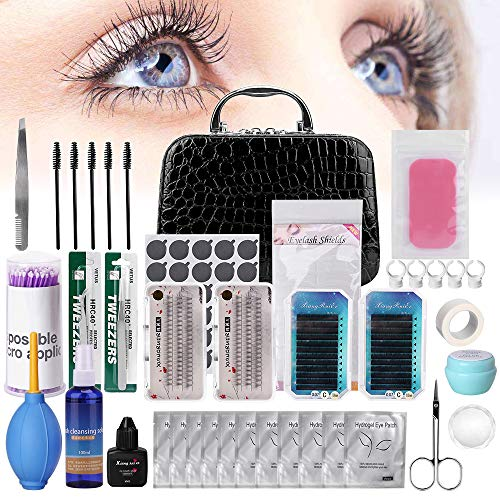 Eyelash Extension Kit, TopDirect 22pcs False Lashes Eyelashes Extension Practice Set Tools Curl Glue with Cosmetic Case for Makeup Practice Eye Lashes Graft, Lash Beginners Kit