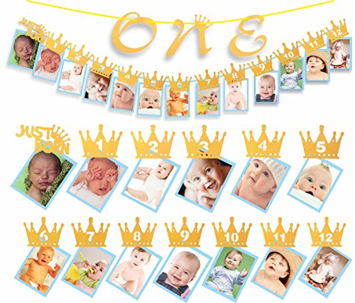 1st Birthday Glitter Decorations - Monthly Milestone Photo banner for Newborn to 12 Months, Great for 1 Year old Celebration, 1-12 Month Crown Numbering Photography Garland Blue (Crown)