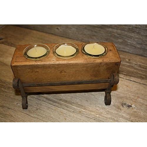 3 Hole Wooden Sugar Mold Wood Candle Holder Primit big image