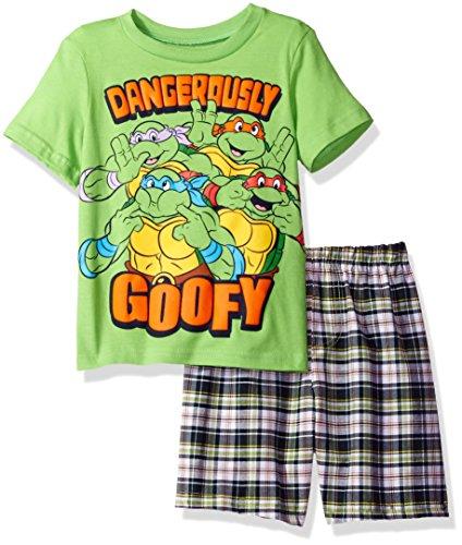Nickelodeon Boys' Toddler Teenage Mutant Ninja Turtle Tee and Plaid Short Set, Green 2T ()