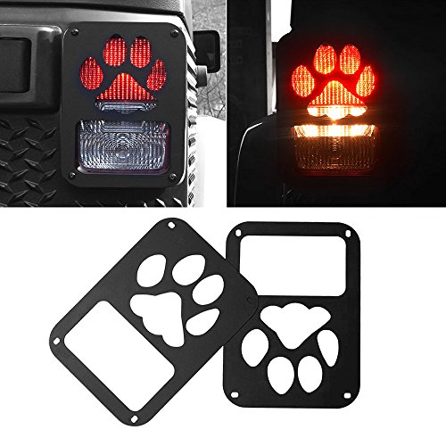 American 4wheel Jeep Wrangler Taillights Covers Tail Light Guard Rear Light Cover Black Dog Paw Jeep Wrangler Accessories JK JKU & Unlimited Rubicon Sahara Sports,2007-2018 – Matte Black(2 Pcs)