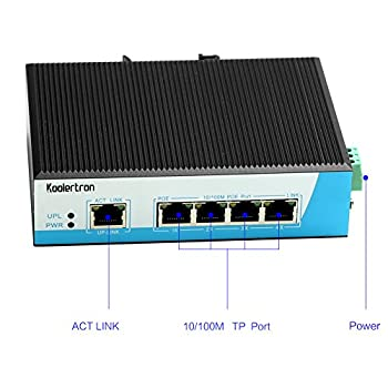 Koolertron 100m 5-port Industrial High-power Poe Switch Thernet Network Switch Din-rail Mount Lightning Protection Anti-static Dustproof 3