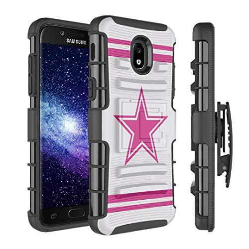Dallas Stars Shield - Capsule Case Compatible with Samsung Galaxy J7 2018 (J737), J7 Star, J7 Aero, J7 Refine, J7V 2nd Gen, J7 Crown, J7 Eon [Armor Kickstand Holster Combo Case Black] - (Pink Cowboy)