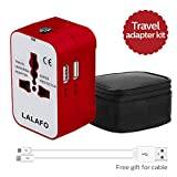 All in One International Universal Travel Adapter,Dual USB Charging ports converter for USA EU UK AUS European Compatible with Mobile Phone,Power Bank,Tablet,Laptop and Earphone. (Red)