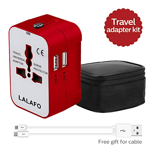 All in One International Universal Travel Adapter,Dual USB Charging ports converter for USA EU UK AUS European Compatible with Mobile Phone,Power Bank,Tablet,Laptop and Earphone. (Red) by LALAFO