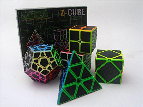 2x2 3x3 Pyramid Skewb Megaminx Speed Cube Bundle Carbon Fiber Sticker Magic Cube Puzzles Collection 5 Cubes in 1 Set ()