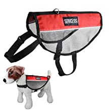 Novadeal Service Dog Mesh Harness Vest Comfort Nylon for Small, Medium & Large Size with 2 Reflective SERVICE DOG Patches - M