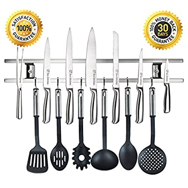 ECO KITCHEN 18 Inch Magnetic Knife Holder Easy Mount on Wall for Organizing Knives, Utensils and Kitchen Sets. Magnetic Knife Strip Includes 6 Stainless Steel Hooks and Screws. Save Kitchen Space Now!