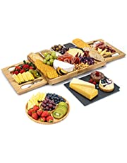 Smirly Cheese Board and Knife Set - Charcuterie Board/Organic Bamboo Cheese Platter with Accessories Drawer, 4PC Cheese Knife Set and 3X Sauce Dish Dip Bowls. Wedding Gifts, Housewarming Gifts