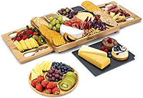 Smirly Cheese Board and Knife Set - Charcuterie Board/Organic Bamboo Cheese Platter with Accessories Drawer, 4PC Cheese...
