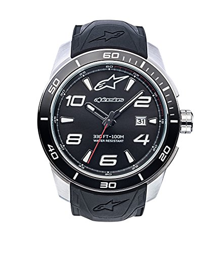 (Alpinestars Tech Watch | Men's Analog Watches | 45 MM Stainless Steel case | 100 Meters Water Resistant | Japanese Quartz Movement | Integrated Silicone Wristband (Black/Stainless Steel))