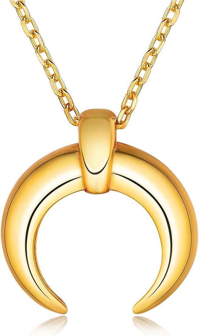 ChicSilver Columnas Cuadradas Dijes Plata de Ley 925 Chapado en Platino/Oro/Oro Rosa Collares para Mujeres Joyería Moderna de Estilo Boho Cuernos Italianos Dientes