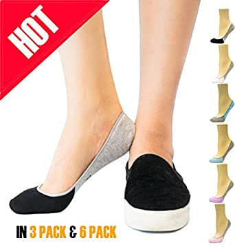 Thirty48 Women's Premium No Show Socks with Non Slip Grip (3 or 6 Pairs) (One Size (6-9), Black & Blue(6 Pairs))