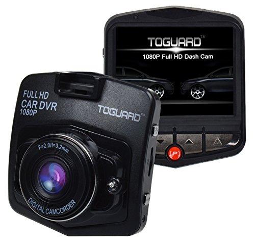 TOGUARD Auto Kamera Full HD 1080P Dashcam Auto DVR Kamera, Novatek nt96220, G-Sensor, Parkplatz Monitor, Bewegungserkennung, Loop Aufnahme, Nachtsicht - Schwarz