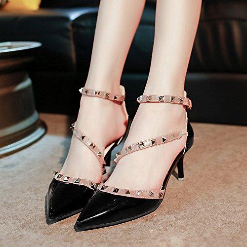 Sujetadores Sandalias 37 Hueca Tornillos Sugerencia Tacón Solo Zapatos Bien Yalanshop Punta Zapatos Mujer Verano Desnudo Alto Color De Negro Ranurados Con Baotou Yoo Zapato qOPagA