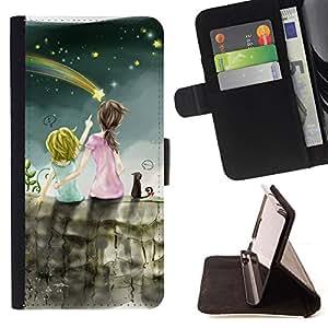 BullDog Case - FOR/Samsung Galaxy S6 EDGE / - / meteor shower art night sky sisters star /- Monedero de cuero de la PU Llevar cubierta de la caja con el ID Credit Card Slots Flip funda de cuer