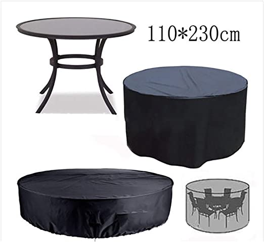 Qchengsan Funda de Mesa Circular, Impermeable, a Prueba de Polvo, para jardín, Mesa Redonda, Cubierta de poliéster Transpirable para Muebles de Exterior: Amazon.es ...
