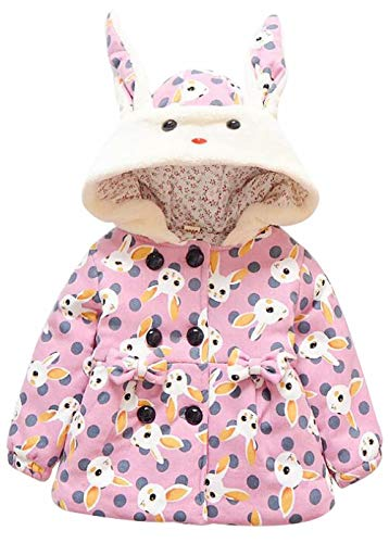 Baby Girl Winter Warm Rabbit Print Thicken Hooded Bunny Ear Coat Jacket Peacoat Size 6-12 Months/Tag80 (Pink)
