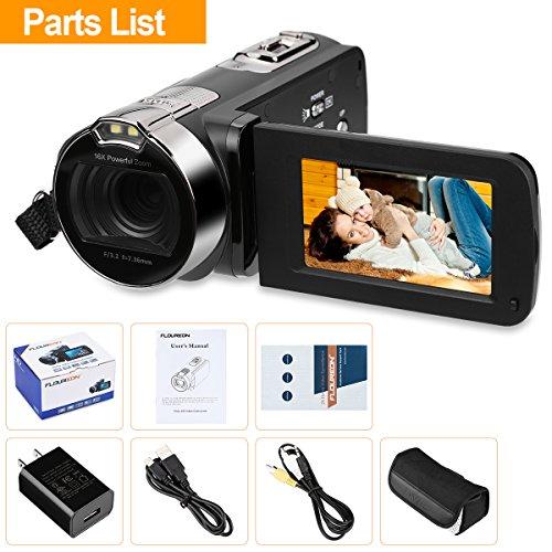 FLOUREON HD 1080P Camcorder Digital Video Camera DV 2.7 TFT LCD Screen 16x Zoom 270 Degrees Rotation for Sport /Youtube/Short Films Video Recording Black