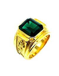Baosity Sytlish Jewelry Gold Stainless Steel Biker Green Gemstone Carved Dragon Ring