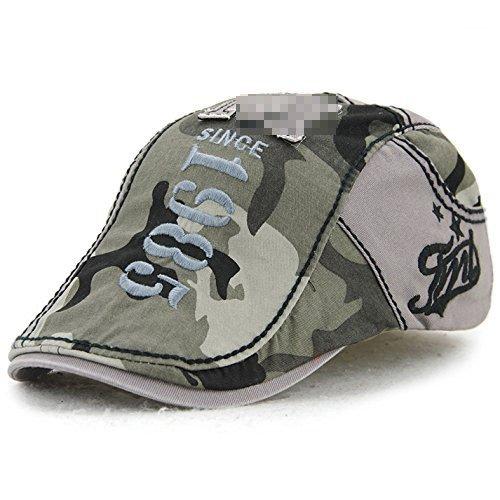 Ahat Casquette de bonnet en coton de camouflage à la mode et décontractée avec broderie et appliqué pour le sport, la randonnée, la course à pied, le shopping et le tir de rue
