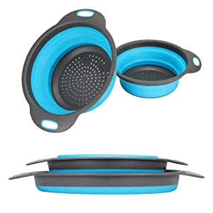 Kitchen Collapsible Colander【2019 New Version】Colander Strainer Over The Sink Vegetable/Fruit Colanders Strainers With Extendable Handles, Folding Strainer for Kitchen (Blue)