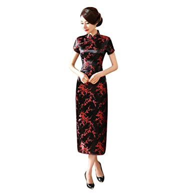 9f0333a7e65 VENI MASEE Cheongsam Chinese Dress Qipao Black Red Floral Long Evening Dress  S-6XL