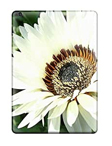 Rugged Skin Case Cover For Ipad Air- Eco-friendly Packaging(white Flowers )