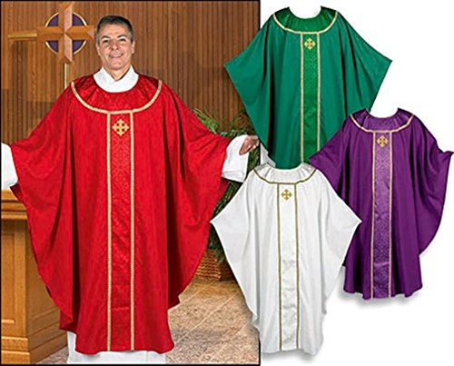 R.J. Toomey Jacquard Orphrey Chasuble with Embroidered Gold Cross (Green) - Embroidered Jacquard Shirt