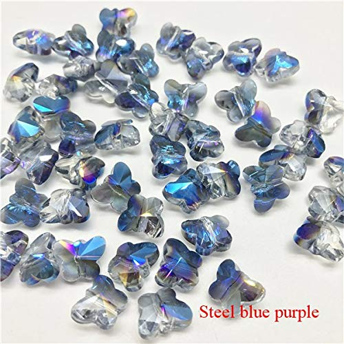 (Calvas 100 Pcs/lot Small Colorful Crystal Butterfly Beads Glass Beads for Jewelry Making Butterfly Charms Pendants for Jewelry DIY - (Color: Steel Blue-Purple, Item Diameter: 8x10mm))