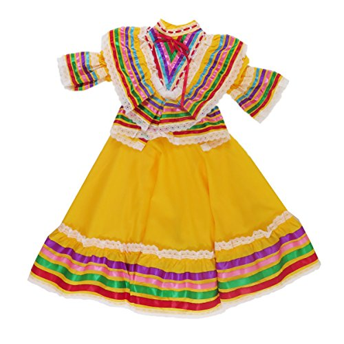 Mexican Clothing Co Little Girls Mexican Jalisco Dress (Blouse and Skirt) Poplin S(4) Yellow 3688
