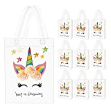 Seakcoik 10 Pack Unicorn Party Favor Gift Bags with Dreamlike Unicorn Design - Reusable Gift Tote...