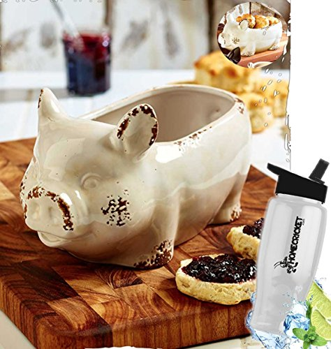Fruit Ivory Bowl (Gift Included- Rustic Farmhouse Kitchen Decorating Pig Fruit or Bread Bowl + FREE Bonus Water Bottle by Homecricket Brand)