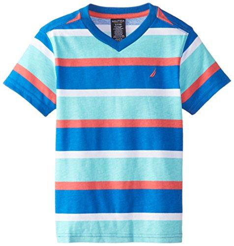 Nautica Little Boys' Short Sleeve V-Neck Striped Tee, Brillant, Medium