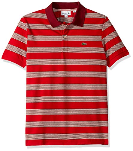 (Lacoste Men's S/S Polo Pique Regular FIT Striped, red/Flour/Pinot, Large )