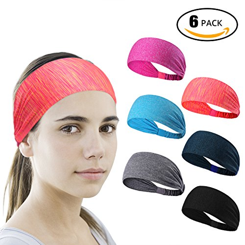 6 Pieces Sport Headband Yoga/Cycling/Running /Fitness Exercise Hairband Elastic Sweatband for - Bands Running Head