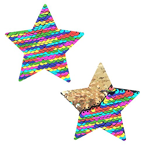 (Neva Nude FunFetti Multicolor Gold Flip Sequin Star Nipztix Pasties Nipple Covers)