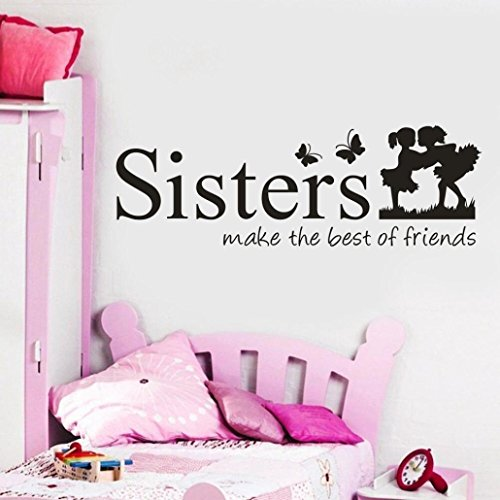 (Neartime Sisters Wake The Best of Friends PVC Wall Sticker Home Decor DIY Art (28cm×10cm ×5cm, Pink))