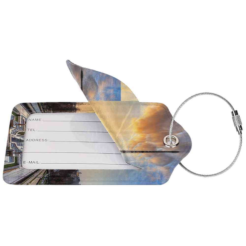Personalized luggage tag Eiffel Tower Decor Sunrise In Paris Easy to carry With Eiffel Tower Holidays Getaways Decorative Scenic Picture W2.7 x L4.6